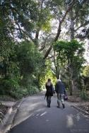 Poets Tamryn Bennett and Bruce Pascoe wandering the Royal Botanic Gardens Victoria