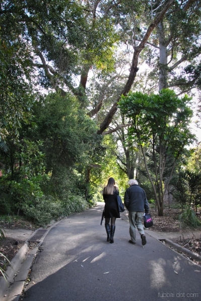 Poets Tamryn Bennett and Bruce Pascoe wandering the Royal Botanic Gardens Victoria