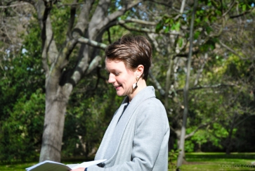 Poet Bonny Cassidy reading her poetry in the Royal Botanic Gardens Victoria