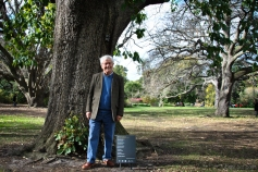 Poet Chris Wallace Crabbe AM with his poem 'At the Tandicals' in the Royal Botanic Gardens Victoria